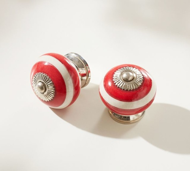 Preppy knob red transitional cabinet and drawer knobs - Red kitchen cabinet knobs ...