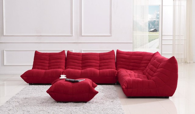 Bloom red fabric sectional sofa contemporary sectional for Modern red fabric sectional sofa