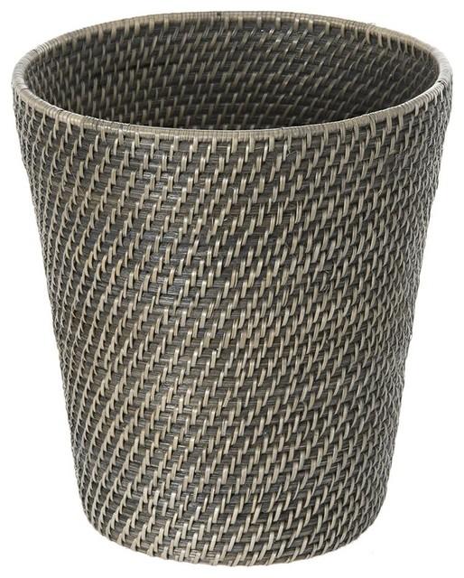 Laguna round rattan waste basket black wash beach style wastebaskets by kouboo - Rattan waste basket ...