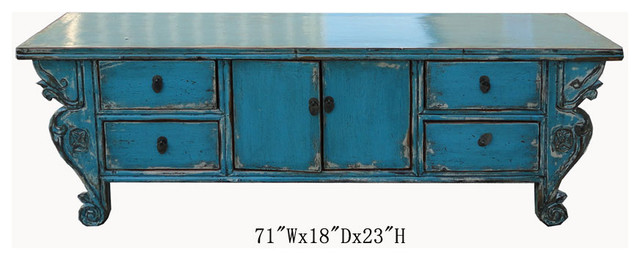 Chinese Antique Blue Lacquer Lower Cabinet Tv Stand Contemporary Side