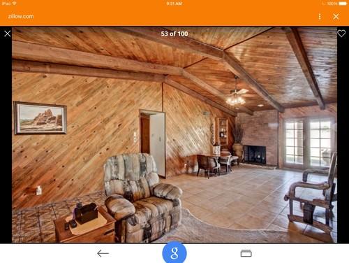 Diagonal knotty pine walls