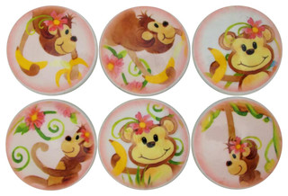 Set of 6 Oversized Watercolor Monkey Cabinet Knobs - Contemporary - Cabinet And Drawer Knobs ...