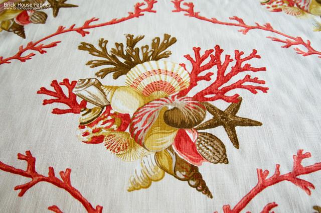 Orange Seashell Fabric Coral Nautilus Beach Style