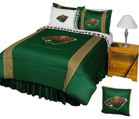 Nhl minnesota wild bedding set hockey bed full for Wild bedding