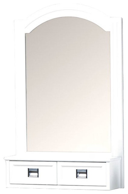 Framed Wall Mount Bathroom Vanity Mirror White 30 X24 Transiti