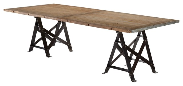 Frinier Industrial Loft Iron Reclaimed Wood Large Dining  : industrial dining tables from www.houzz.com size 640 x 302 jpeg 29kB