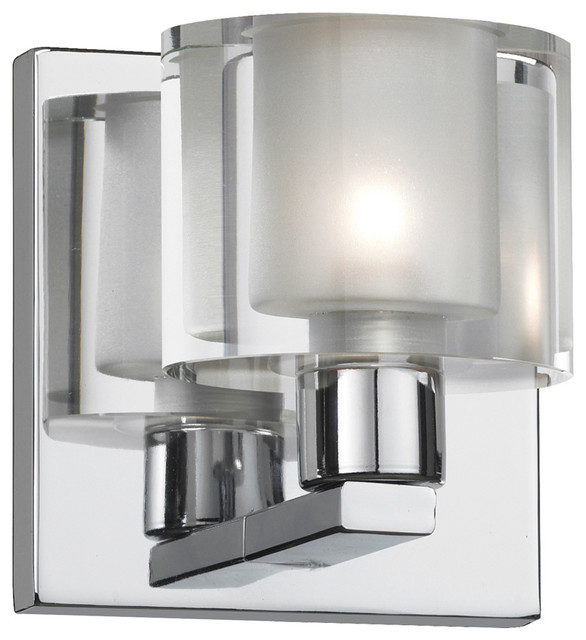 Modern Vanity Lighting Chrome : 1-Light Polished Chrome Vanity Fixture - Modern - Bathroom Vanity Lighting - by Dainolite Ltd.