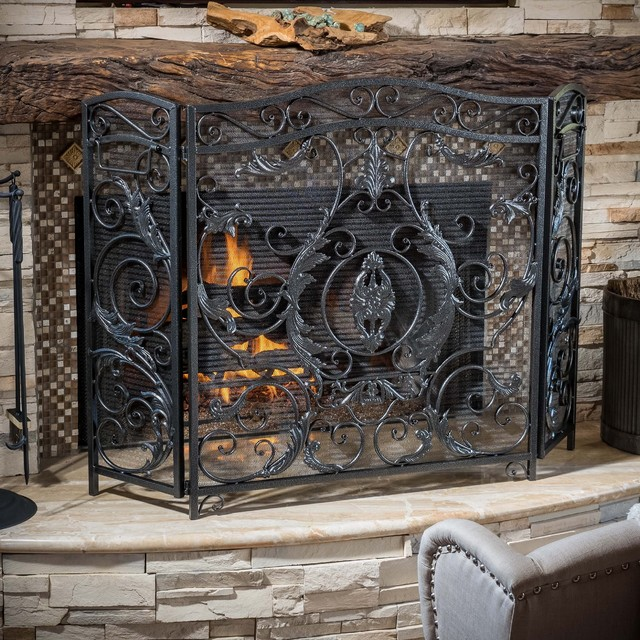 Christopher Knight Home Waterbury Fireplace Screen Victorian Fireplace Screens By