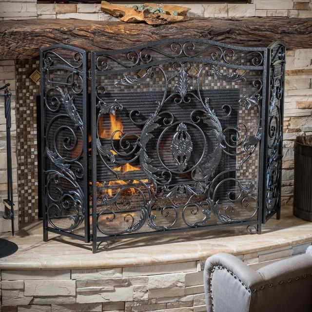 Christopher knight home waterbury fireplace screen victorian fireplace screens by - Houzz fireplace screens ...