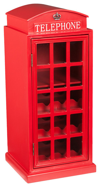 Thames Phone Booth Storage Cabinet, Red, Wine Cabinet - Modern - Wine And Bar Cabinets - by SEI
