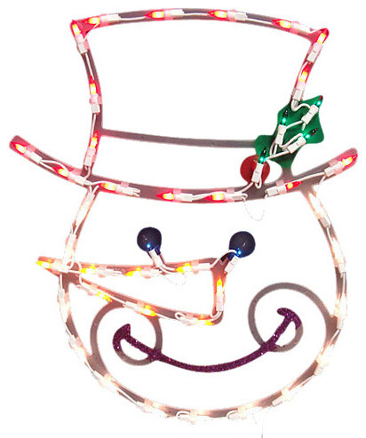 Lighted smiling snowman christmas window silhouette for 16 lighted snowflake christmas window silhouette decoration