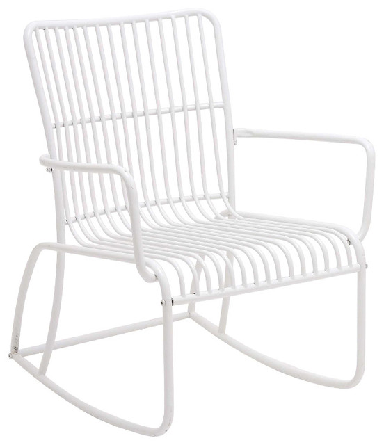 Traditional and modern inspired heavenly metal white - Modern white rocking chair ...