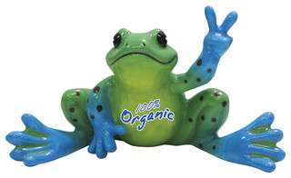 Blue And Green Spots Organic Logo Frog Figurine Waving