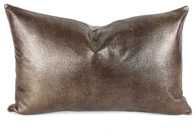 Decorative Leather Pillow : Metallic Leather Pillow, Bronze - Contemporary - Decorative Pillows