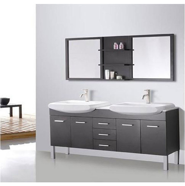 Design Element Tustin 72 Inch Double Sink And Mirror Bathroom Vanity Set Co