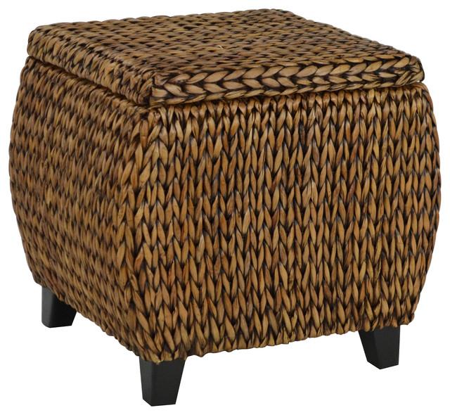 bali breeze round storage ottoman gold patina tropical