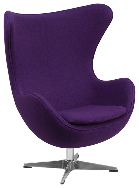 Wool Fabric Egg Chair With Tilt Lock Mechanism Purple