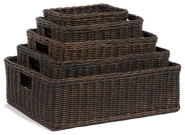 Wicker Under The Bed Basic Storage Basket Antique Walnut