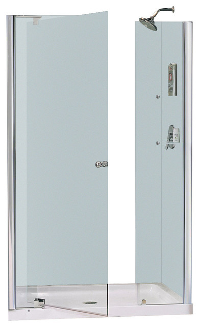 Allure Frameless Pivot Shower Door & SlimLine Single Threshold Shower ...