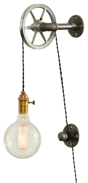 Not On The High Street Industrial Wall Light : Steel Pulley Wall Light - Industrial - Wall Lights - by West Ninth Vintage