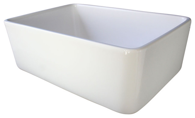 White Single Bowl Kitchen Sink : Single Bowl Farmhouse Kitchen Sink, White - Farmhouse - Kitchen Sinks ...