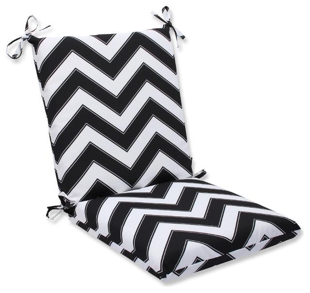 Chevron Black and White Squared Corners Chair Cushion