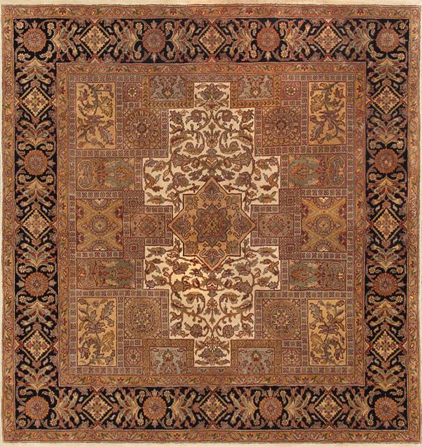 Safavieh Pl537a Persian Legend Wool Hand Tufted Rust Navy: Rugsville Agra Black Beige Wool 11144-66 6x6 Rug