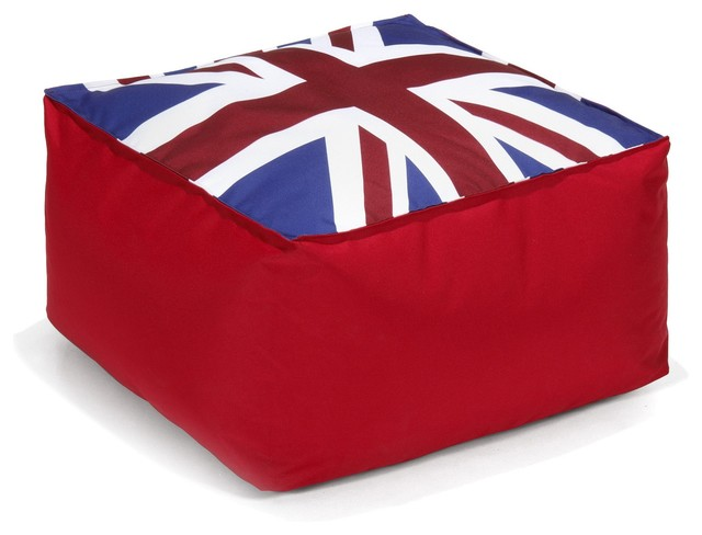 pouf uk pouf carr au motif du drapeau anglais 45x45cm contemporain repose pieds pouf et. Black Bedroom Furniture Sets. Home Design Ideas