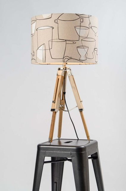 tripod table lamp natural wood antique brass with shade options. Black Bedroom Furniture Sets. Home Design Ideas