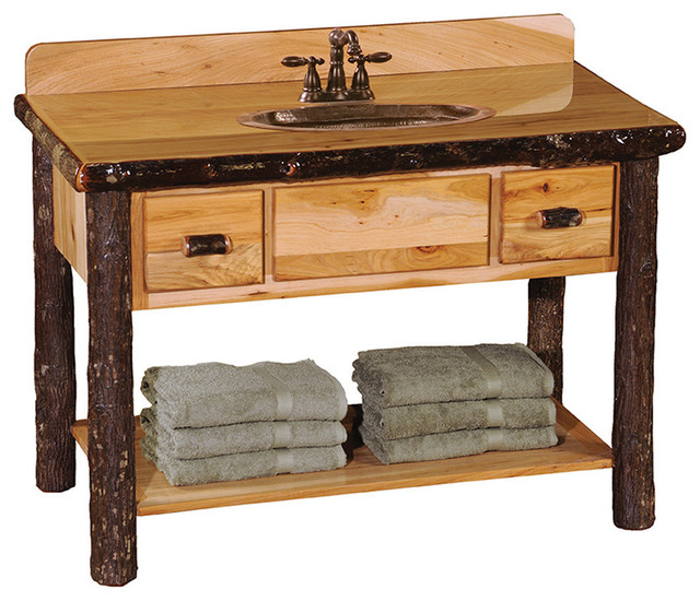 Hickory Open Vanity With Shelf And 2 Drawers Rustic Bathroom Vanities And Sink Consoles By