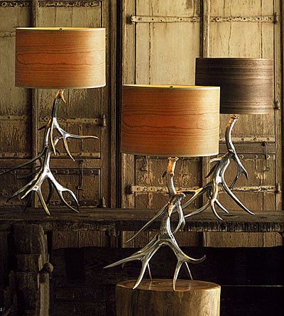 Aluminum Antler Lamp Bases With Wood Veneer Shades