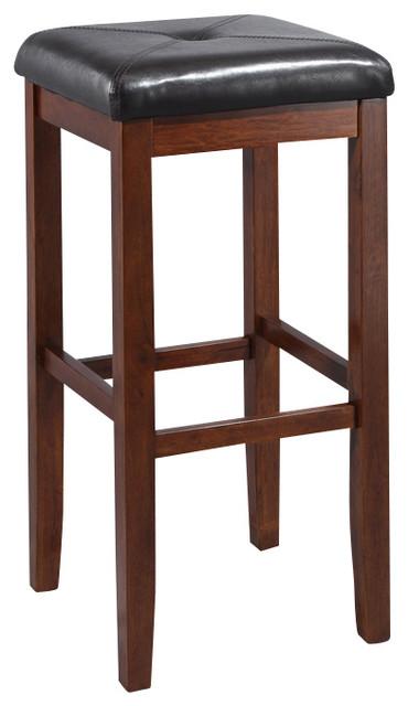 Upholstered square seat bar stool in vintage mahogany - Traditional kitchen bar stools ...