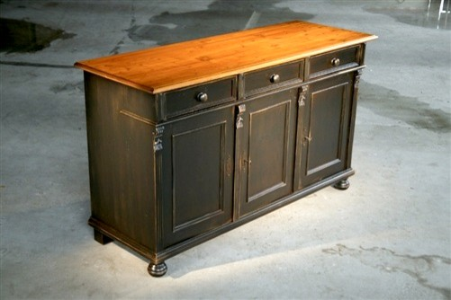 Black Wood Buffets ~ Painted black pine wood buffet farmhouse buffets and