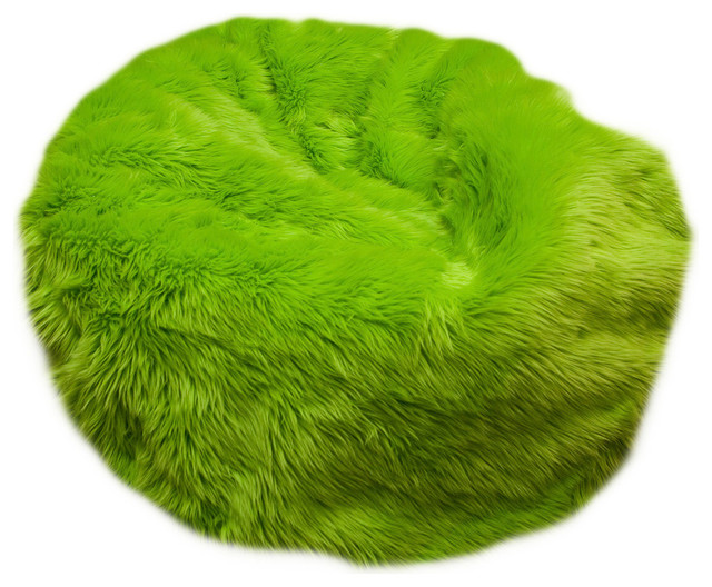 Small beanbag lime green fuzzy fur contemporary kids for Kids fluffy chair