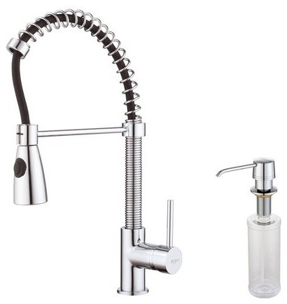 Commercial style pre rinse kitchen faucet with soap for Industrial style kitchen faucet
