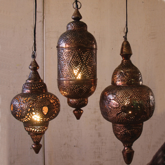 Hanging metal moroccan pendants mediterranean pendant for Metal hanging lights