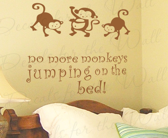 Wall Decal Sticker Quote Vinyl Art Large No More Monkey's Jumping on the Bed B34 - Modern - Wall ...