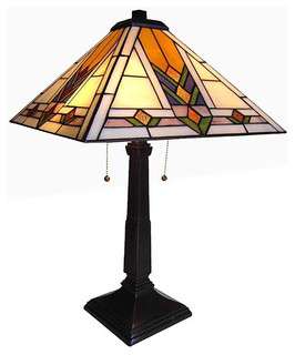 arts crafts tulip stained glass table lamp arts crafts table. Black Bedroom Furniture Sets. Home Design Ideas
