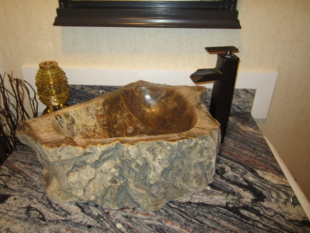 Eden Bath S028pw P Natural Stone Sink Petrified Wood Rustic Bathroom Sinks New York By