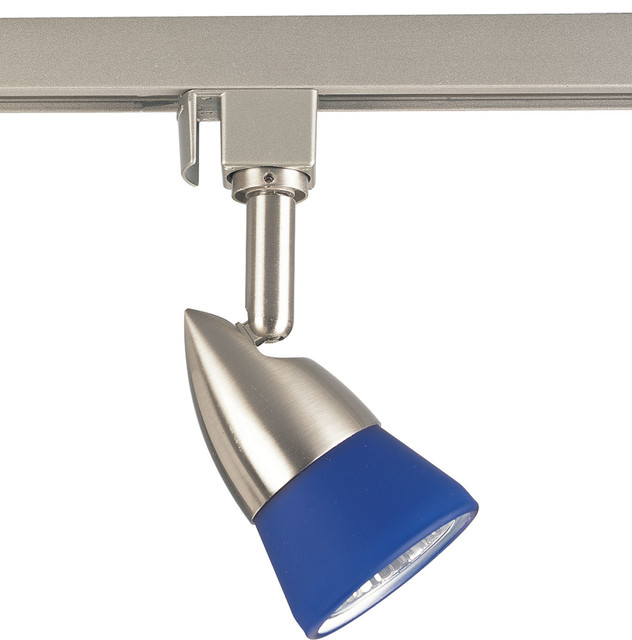 Pendant Track Lighting Heads: Progress Lighting P6111-09B One-Light Track Head With Blue