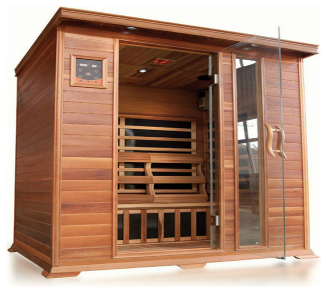 SunRay Sequioa 4 Person Cedar Sauna With Carbon Heaters - Rustic - Saunas - by Steam Showers 4 Less
