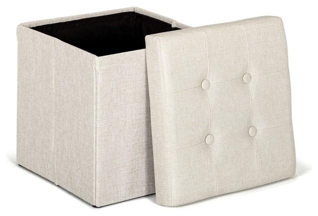 oliver pouf coffre coloris cru pliable contemporain repose pieds pouf et cube par. Black Bedroom Furniture Sets. Home Design Ideas