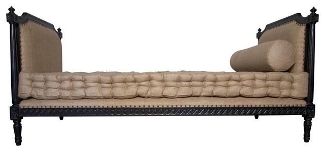 Noir furniture isabelle day bed with cushion hand rubbed black traditional chaise longue - Chaise isabelle sentou ...