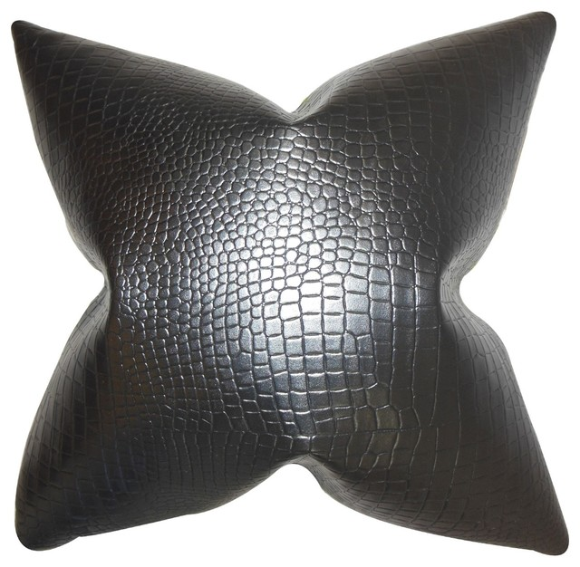 Traditional Accent Pillows : Quiller Solid Pillow Black 18