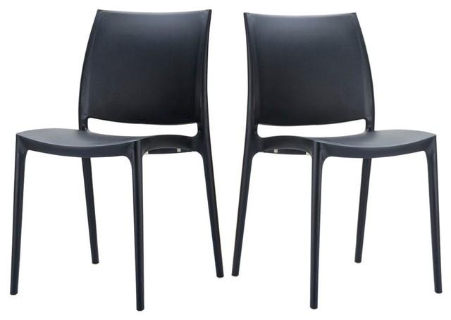 lot de 2 chaises design maya couleur noir bauhaus look. Black Bedroom Furniture Sets. Home Design Ideas