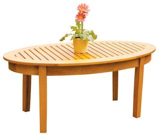 wood slat coffee table oval shape transitional
