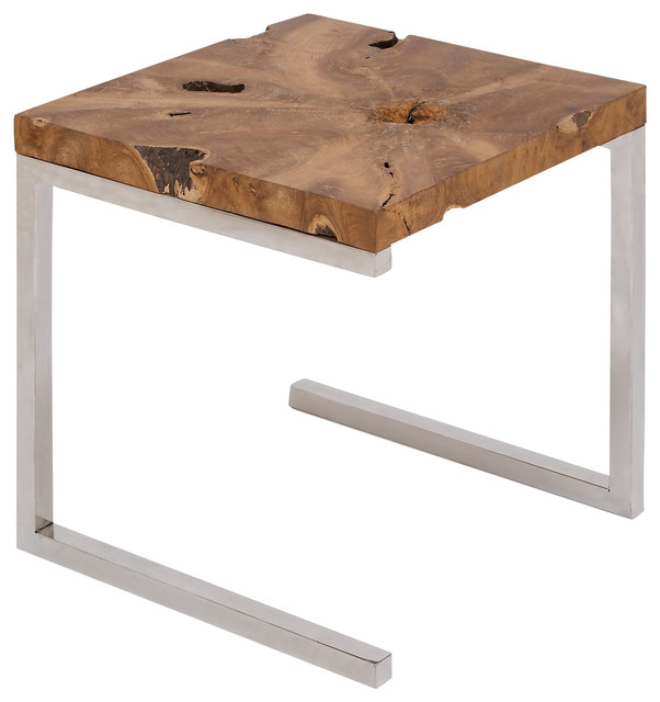Stainless steel teak wood side table modern outdoor for Outdoor teak side table