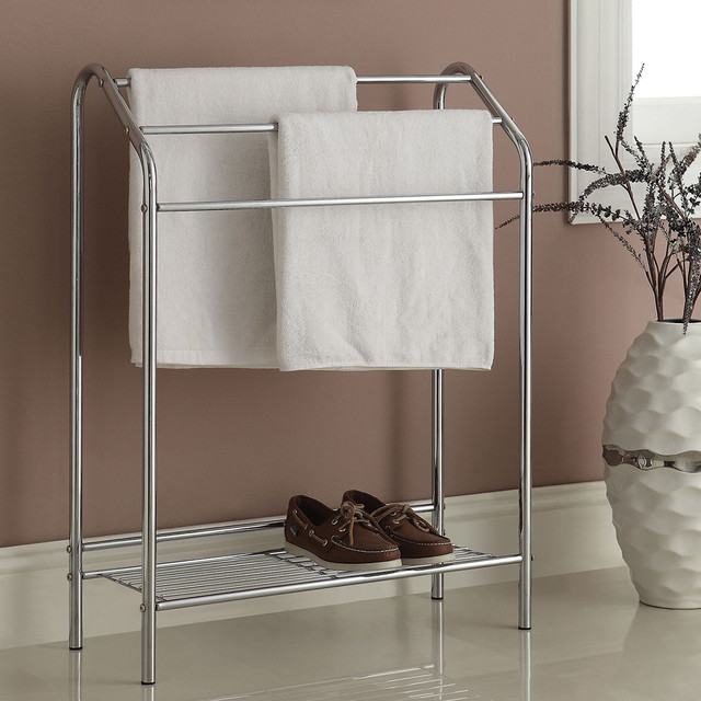 3 bar chrome finish bathroom rack contemporary towel for Bathroom accessories stand