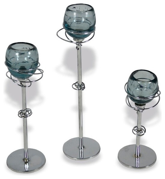 Gyro iron candle holders with glass set of 3 arts for Arts and crafts candle sconces