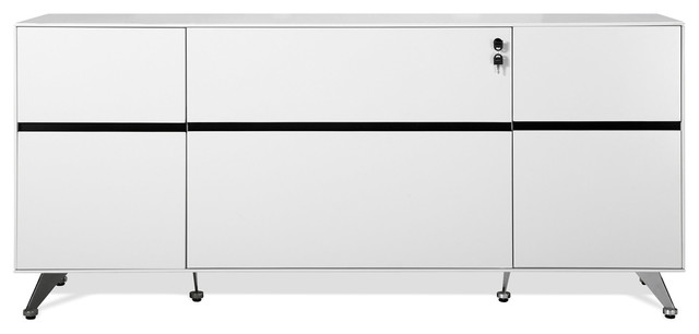 Modern Darin Office Storage Credenza With Shelving, White ...